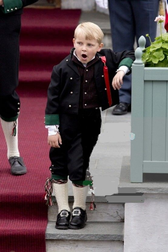 Prince Sverre Magnus of Norway, looks tired during the 2013 Norway National Day at their residence in Skaugum, Norway
