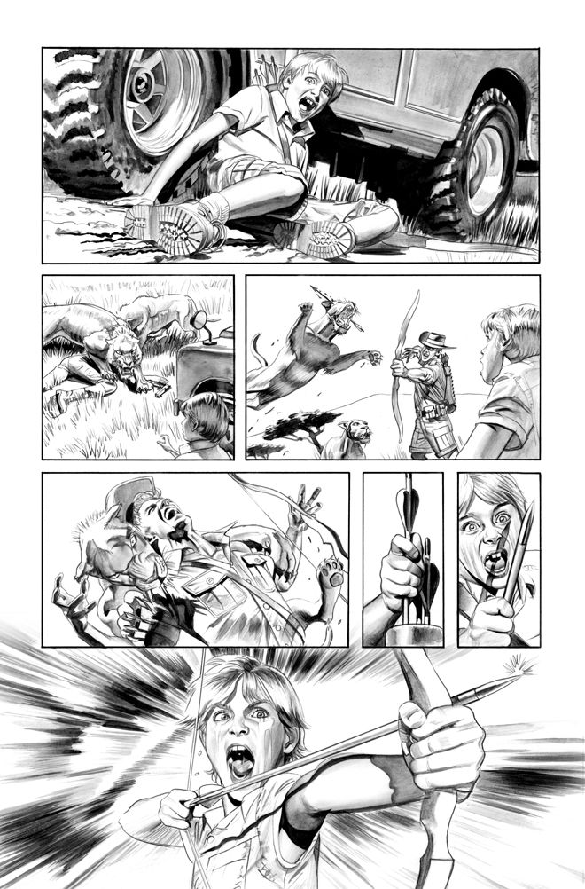 Green Arrow 7 Page 3 B+W art by ~mikemayhew on deviantART