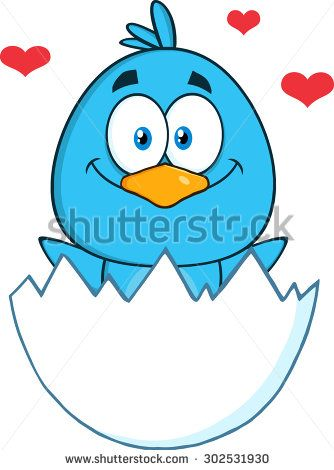 Happy Blue Bird Cartoon Character Hatching From An Egg With Hearts
