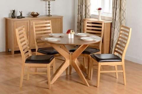 Boston Round Wooden Dining Sets With Matching Wooden Chairs With - Round wooden dining table and 4 chairs