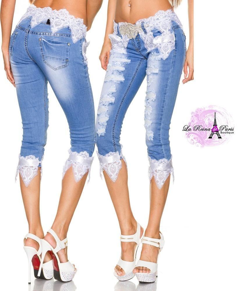 Pantalones Bermudas De Mujer Con Dise O Denim Fashion Fashion Shoes Capri Jeans