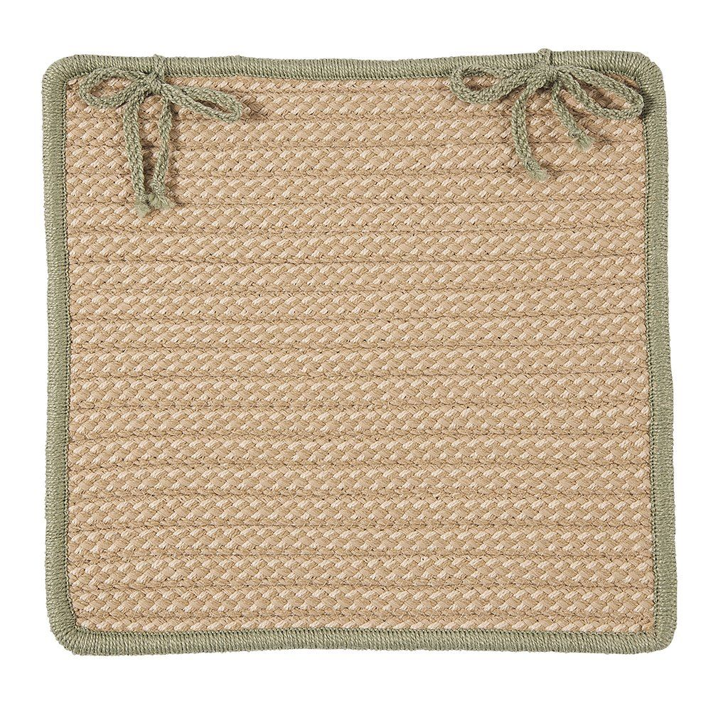 Boat House Indoor Outdoor Square Braided Chair Pad, BT5 Tan