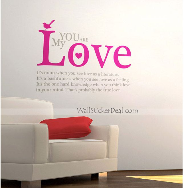 Love Wall Quotes Entrancing You Are My Love Quotes Wall Stickers  Quote Wall Sticker