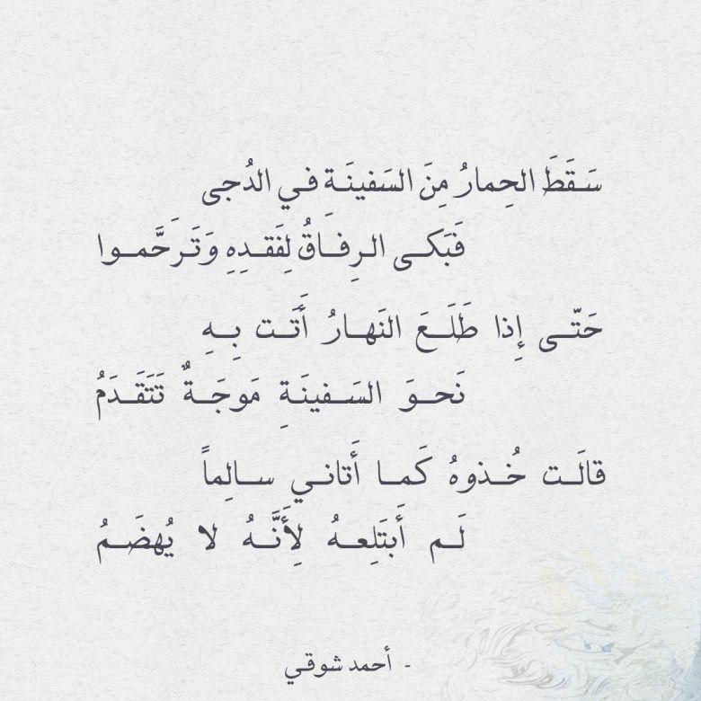 شعر أحمد شوقي سقط الحمار من السفينة في الدجى Islamic Quotes Quotes Arabic Quotes