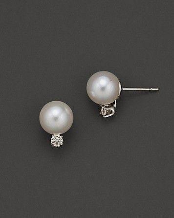 Akoya Pearl And Diamond Stud Earrings Bloomingdale S