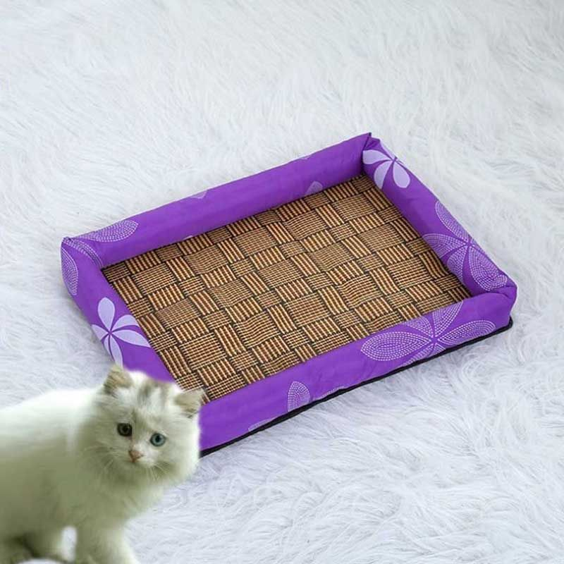 Rattan Cat Cooling Mat Ice Silk Cloth Puppy Cushion Tear Resistant