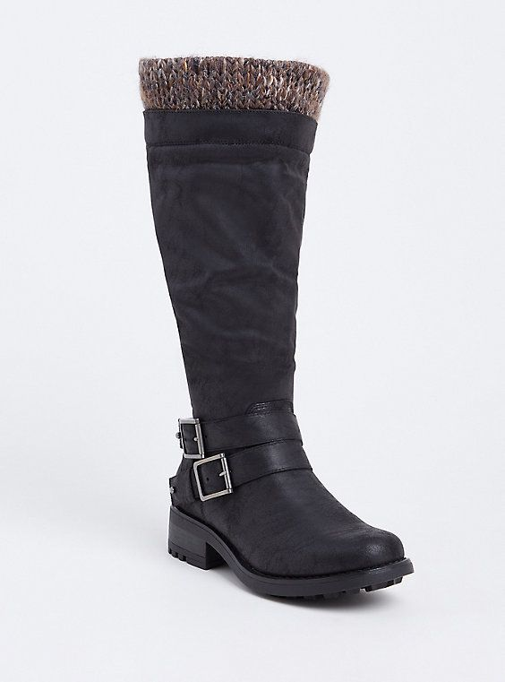 Wide Black Sweater Trimmed Knee-High Slouch Boot (