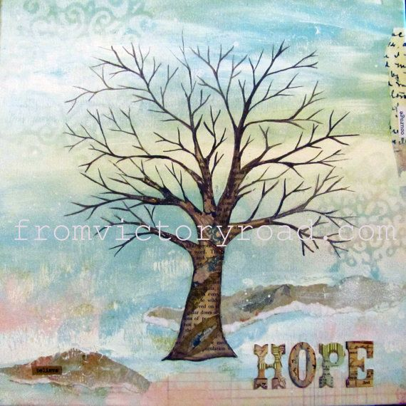 Four Seasons Tree Set 12 X 12 Mixed Media Print By Fromvictoryroad