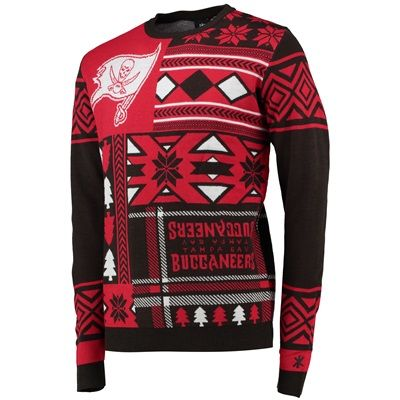 info for 19d04 3aed8 Tampa Bay Buccaneers Patches Crewneck UGLY Sweater Simon ...