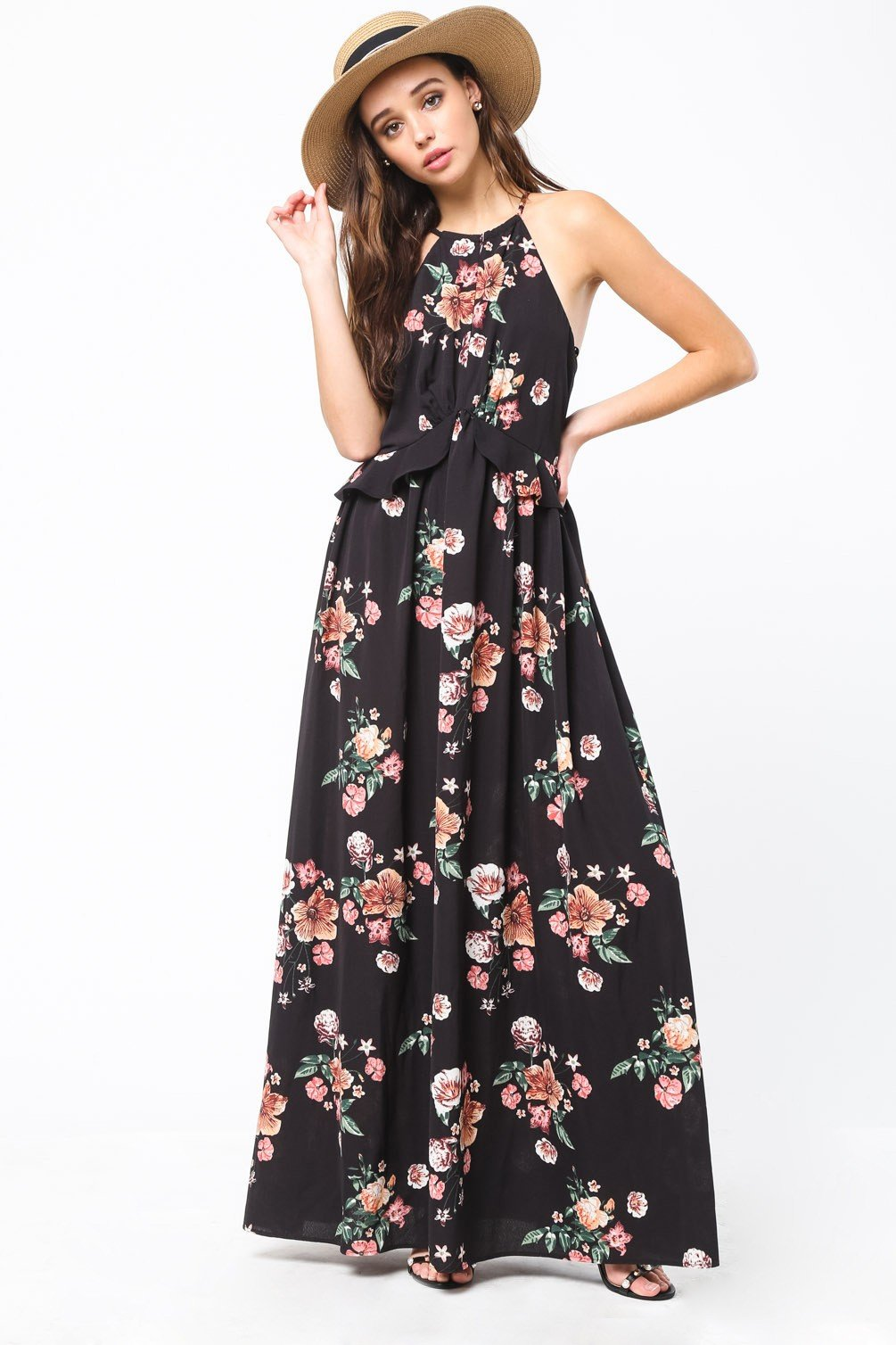 a4309630dc371b Black Floral Print Garterized Sleeve Criss Cross Maxi Dress | All Fashion |  Dresses, Floral prints, Formal dresses