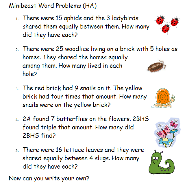 word problems year 2 minibeast theme these are a