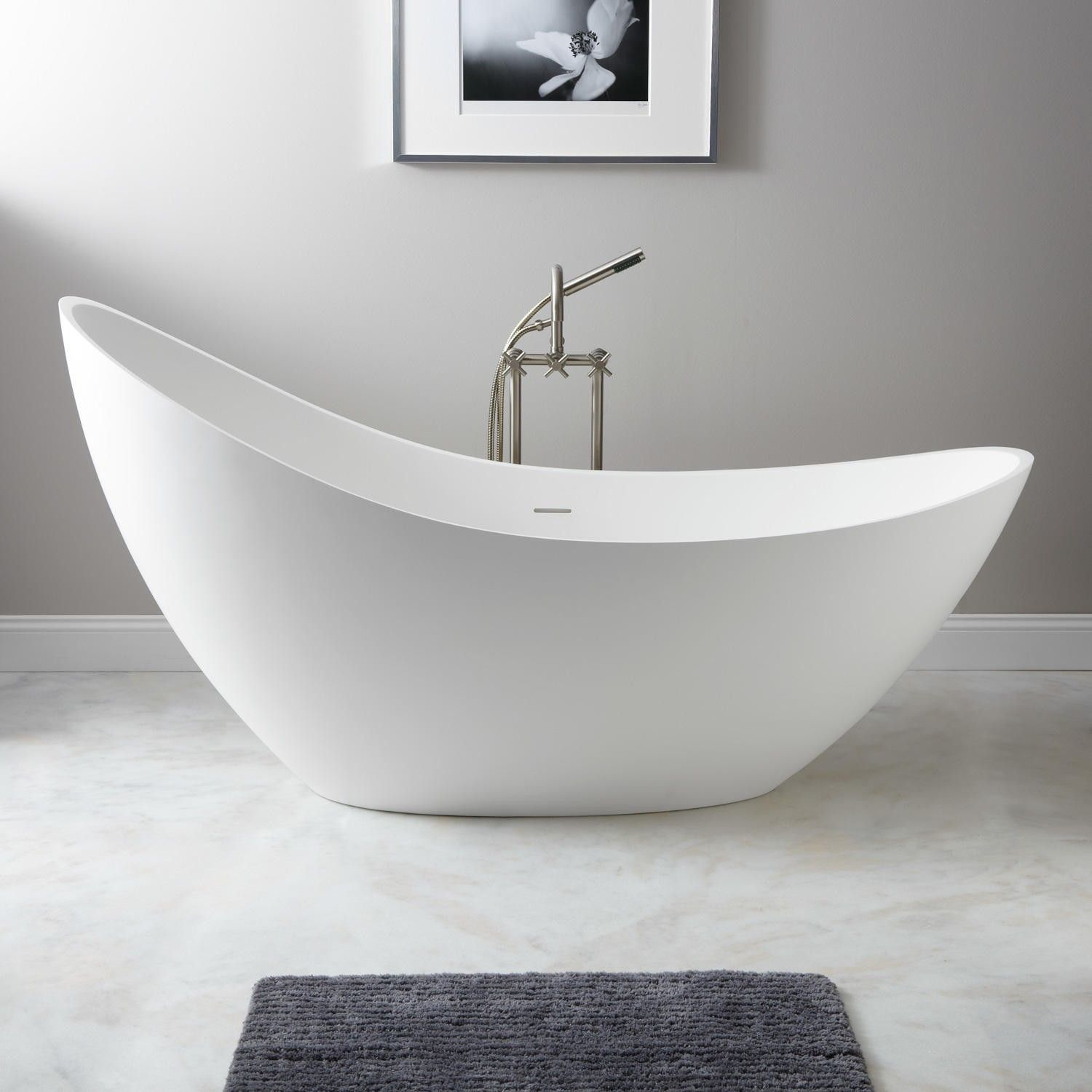 73 Quot Ballico Resin Freestanding Slipper Tub Matte Finish