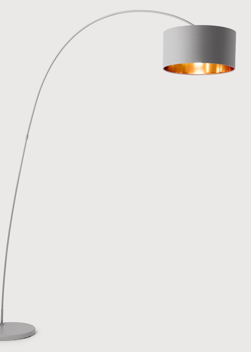 the sweep floor lamp in grey and copper moveable metallic accents 99
