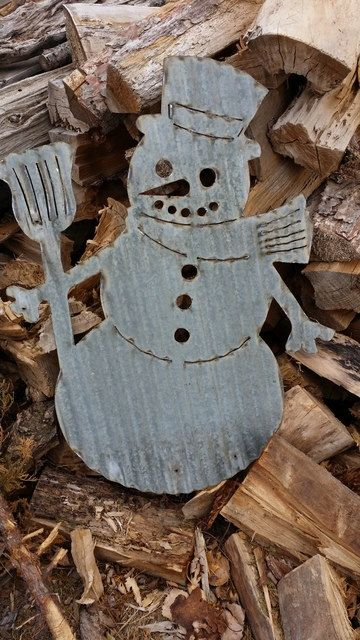 Vintage Style Corrugated Snowman Metal Sign By