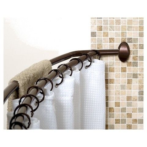 Zenna Home Neverrust Double Curved Shower Rod Satin Nickel With