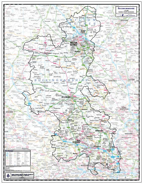 Buckinghamshire County Map This is a large county map of