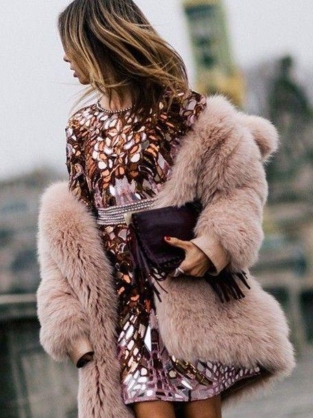 Dress: tumblr coat pink coat fur coat big fur coat mini printed fall bag fringed bag fringes fuzzy