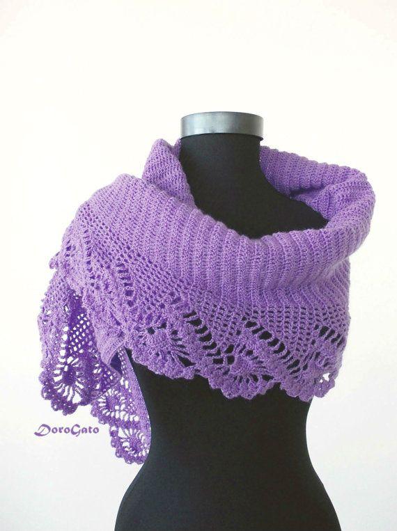 Triangle shawl PATTERN, lace stole pattern, crochet shawl, crochet ...