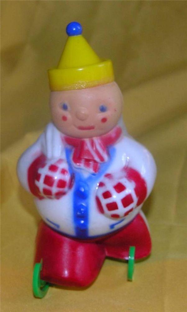 VTG 1950 ROSEN ROSBRO JOLLY SKATER SNOWMAN BOY HARD PLASTIC XMAS CANDY CONTAINER #JollySkaterCandyContainer