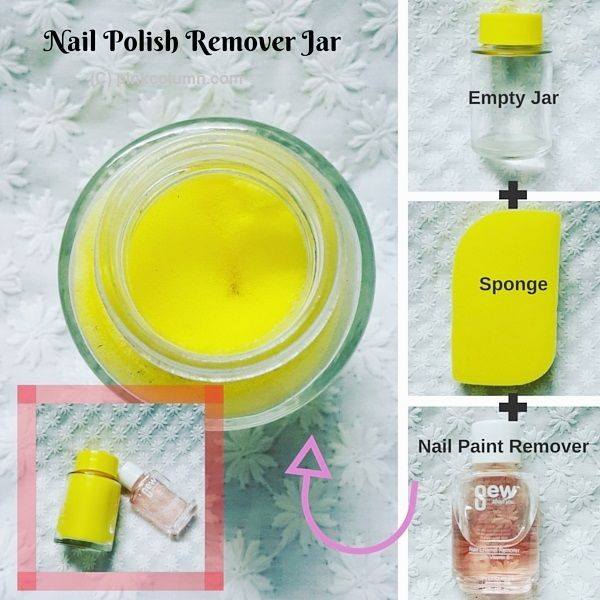 Nail Polish Remover Jar DIY project use three sponge empty