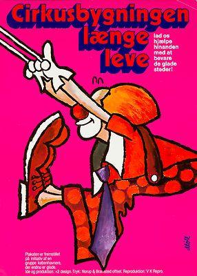 Original Vintage Poster Circus Clown Trapeze Acrobat Cirkusbygningen Danish 70s