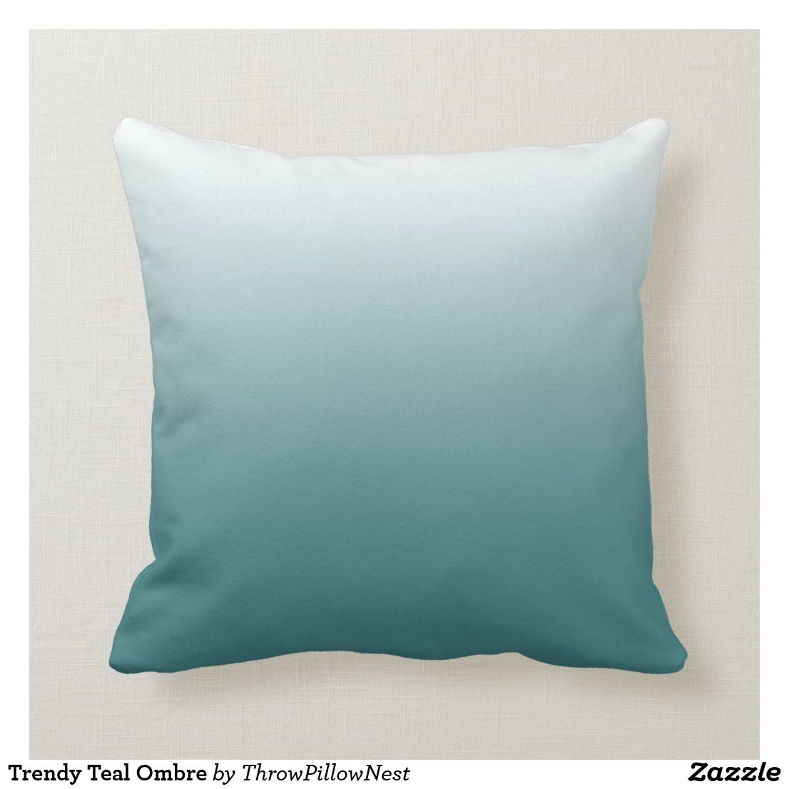 Trendy Teal Ombre Throw Pillow