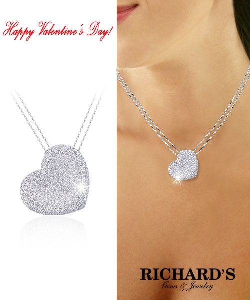 Heart shaped diamond necklace in 18k white gold