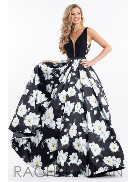 Rachel Allen 7664 Size 12 Black Floral Prom Dress Evening Dress