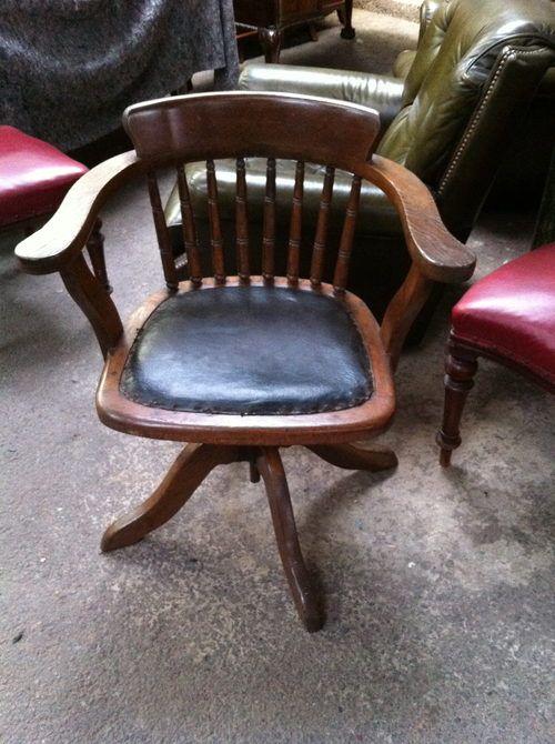 1930 Office Desk Swivel Chair In Oak With Black Leather