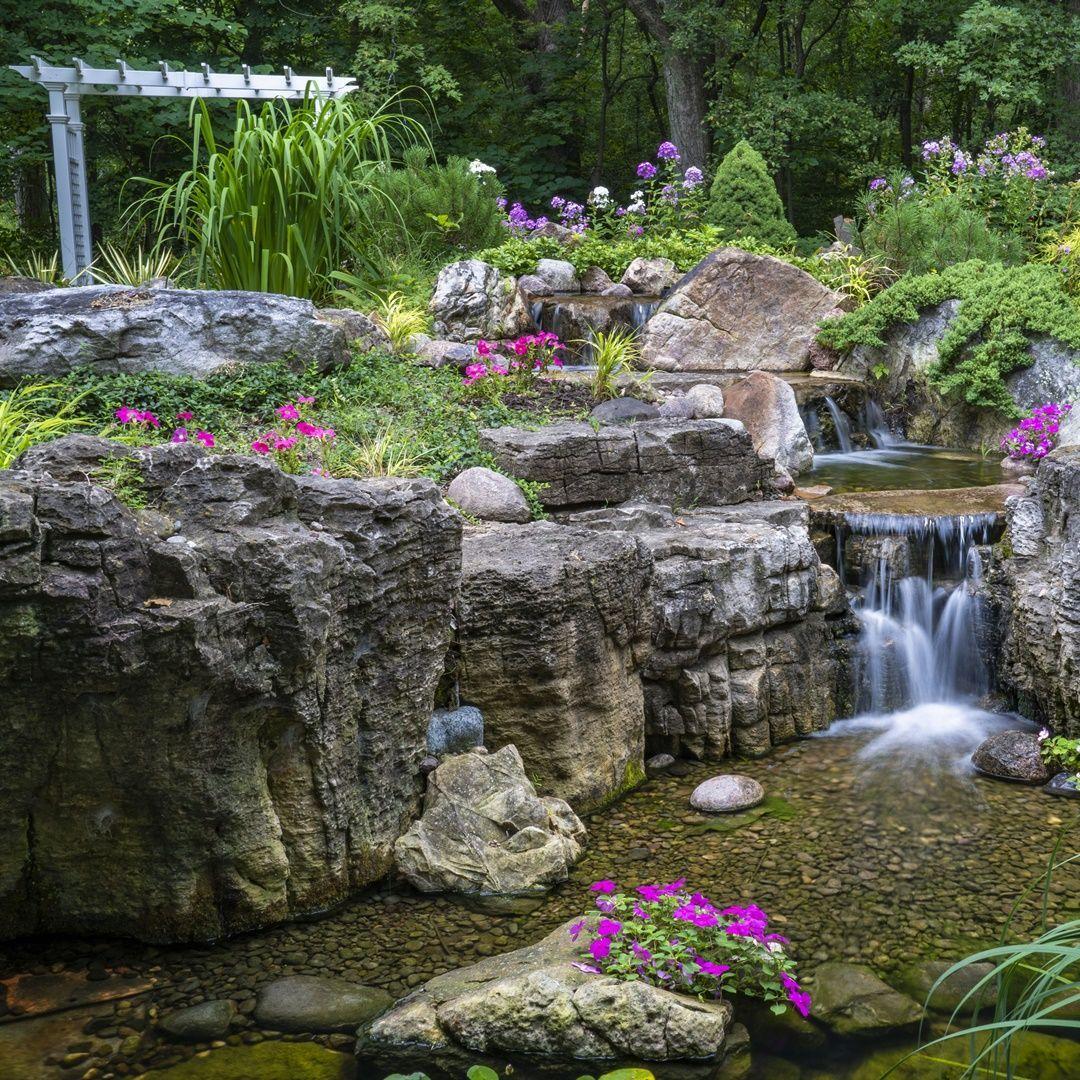 Pondless Waterfall Backyard Landscape Low Maintenance