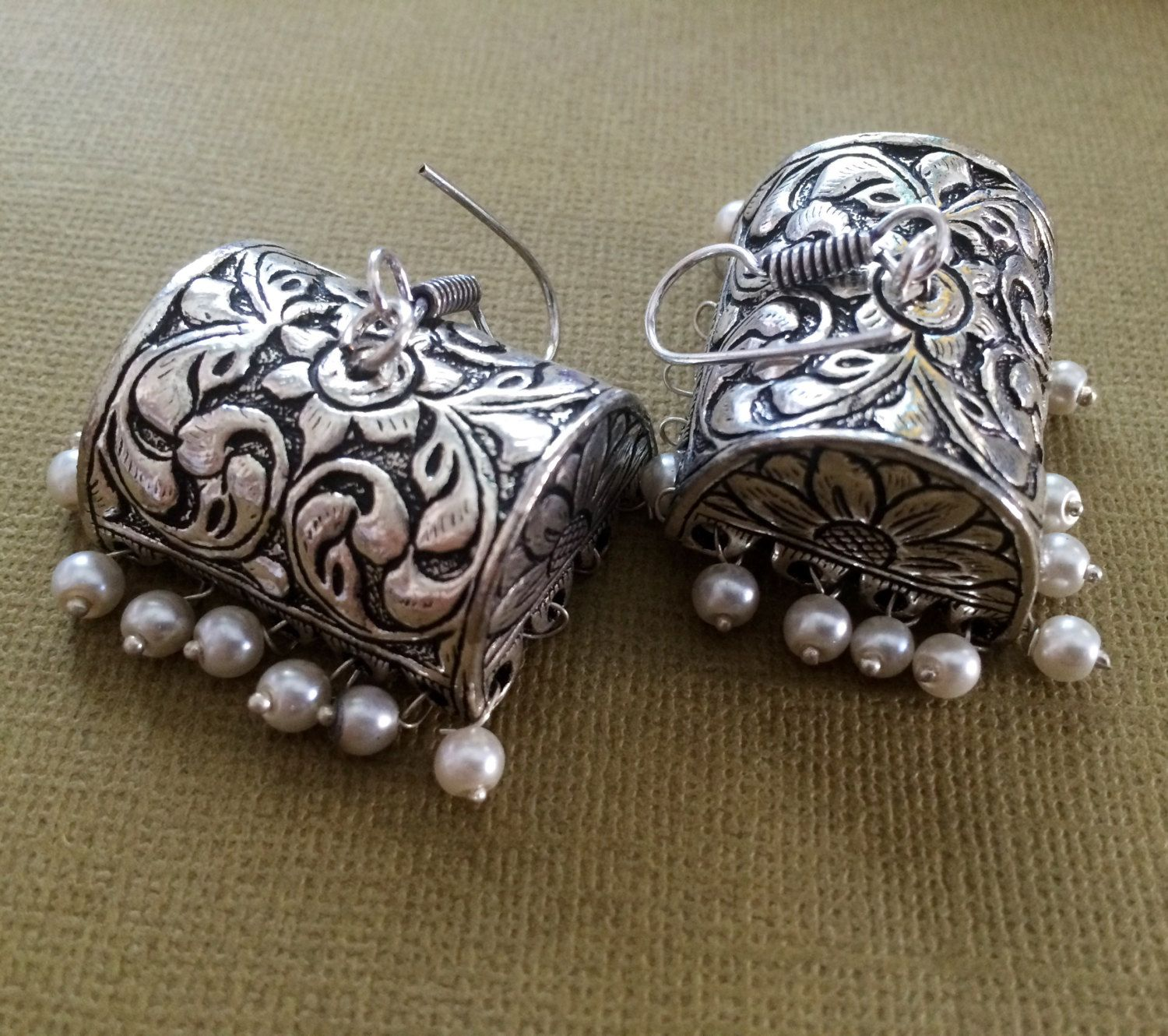 SILVER JHUMKA Earrings,PEARL Earrings,Ethnic temple ...