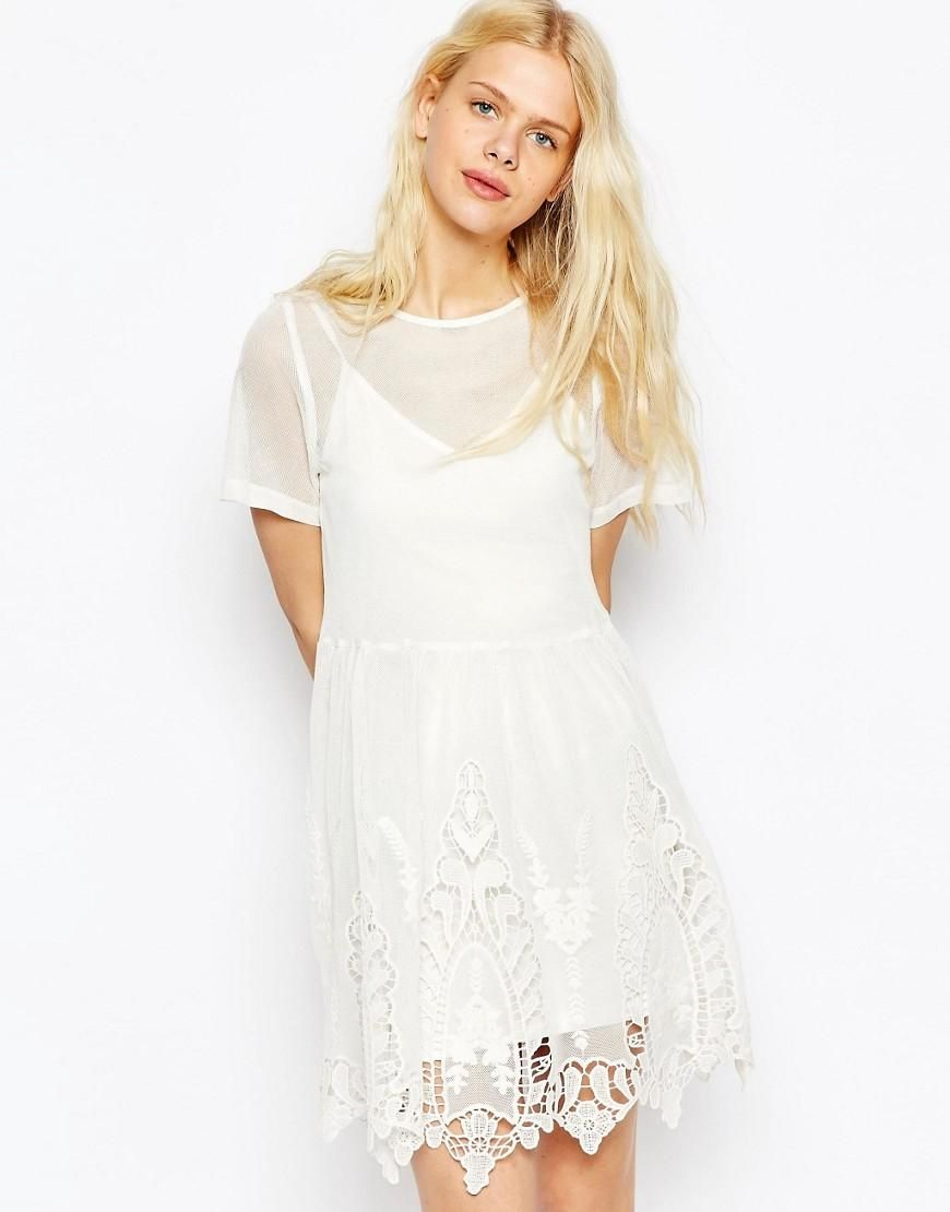 Smock dress in mesh with cutwork and lace hem rehearsal dinner