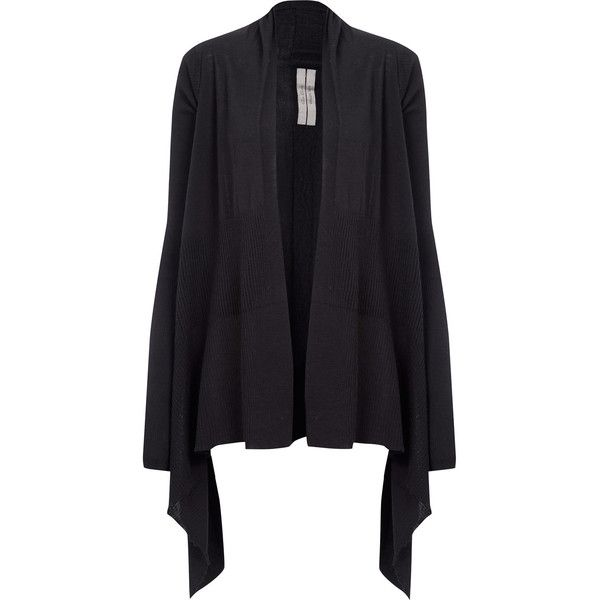 Rick Owens Black Waterfall Merino Knit Wrap Cardigan (37.095 RUB ...
