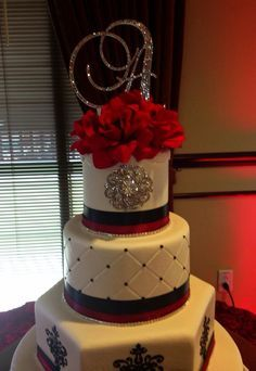 Black white with red sweet 15 birthday cake cake ideas