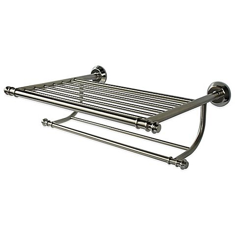 Winthrop Hotel Rack Wall Shelf In Brushed Nickel Finish Bed Bath