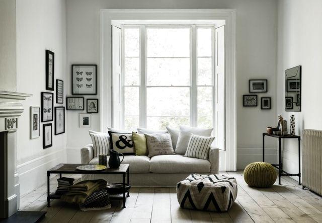 grau grün Wohnzimmer wohnen Ideen Hocker gepolstert Einrichtung - wohnzimmer ideen grun
