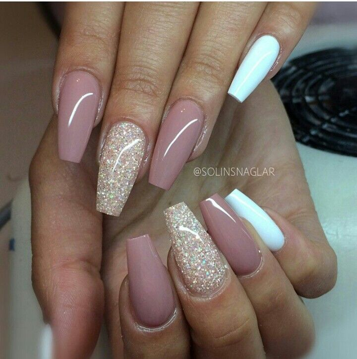 Rose White Nails Beige Nails Coffin Nails Long Pink Nails