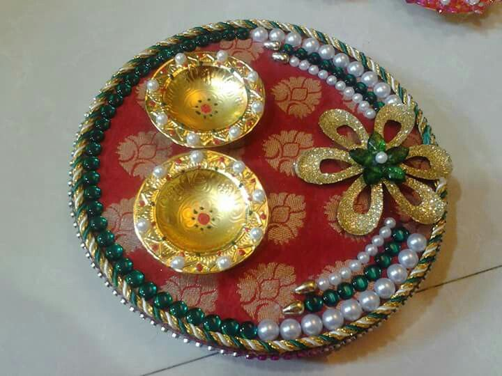 Wooden pooja thali mansi shah 39 art pinterest craft for Aarti thali decoration with pulses