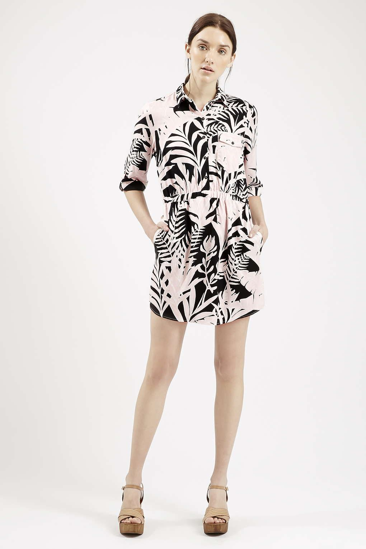 PETITE Shadow Leaf Print Shirt Dress | Topshop, Leaf prints and Photos