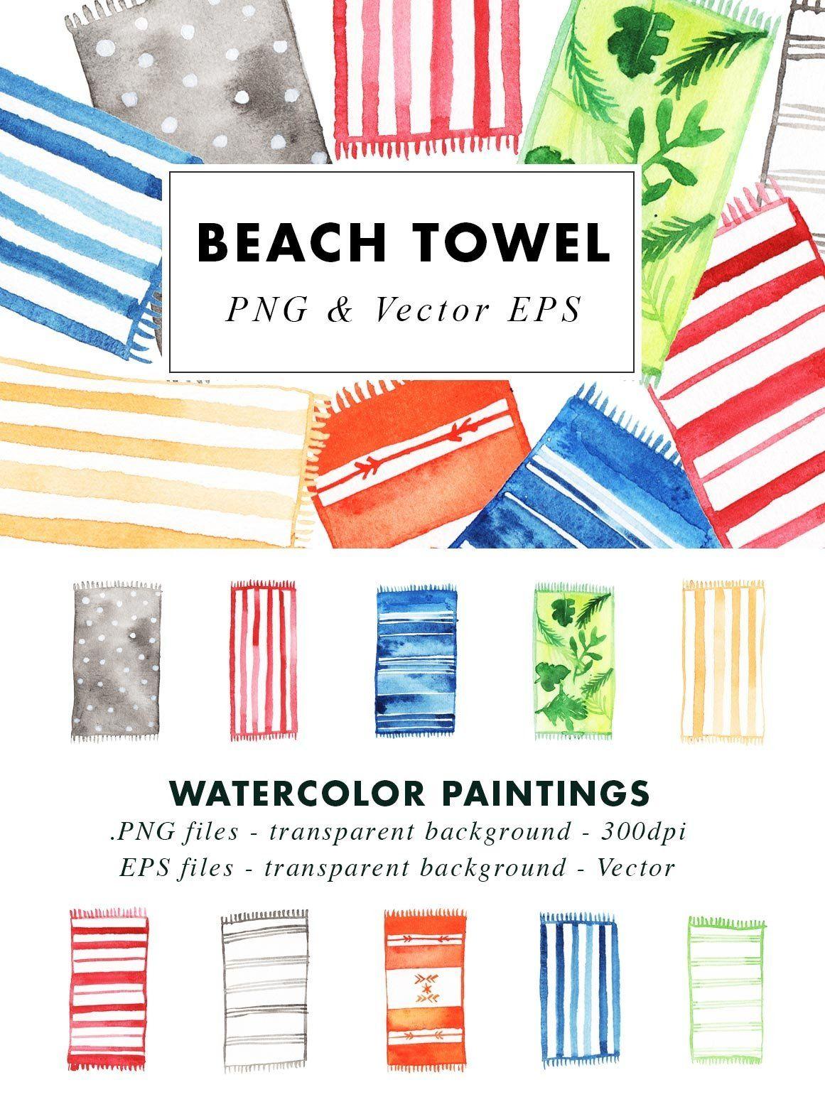 Watercolor Beach Towel Illustration Clip Art In Png Vector In 2021 Beach Watercolor Beach Towel Clip Art