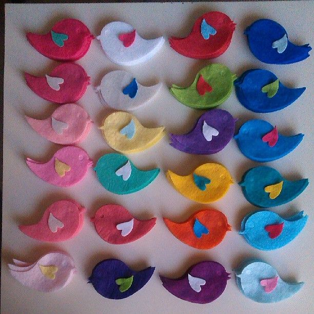 felt bird shapes for wedding, engagement, baby shower favor...