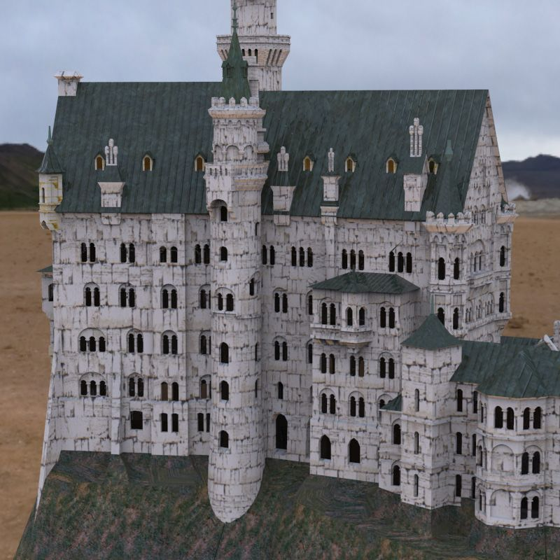 Neuschwanstein Castle In Obj And Fbx Formats 3d Model Neuschwanstein Castle Castle Minecraft Castle