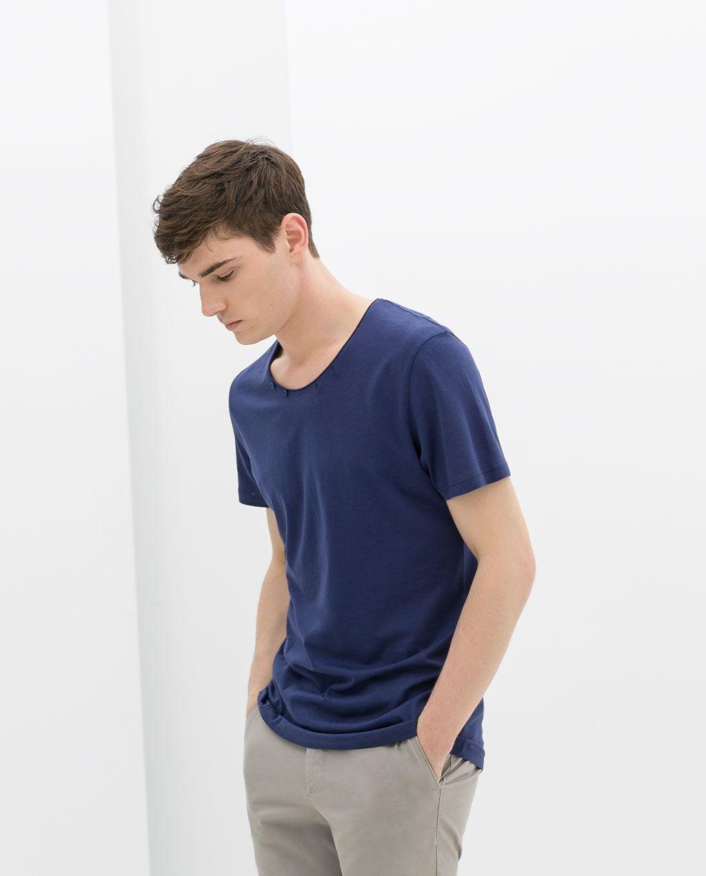 870a01e1 ZARA - MAN - T-SHIRT WITH BUTTONS #MensT-shirts | Mens T-shirts ...