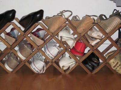 Love This Idea   Using An Inexpensive Wine Rack For Shoe Storage When Space  Is Tight