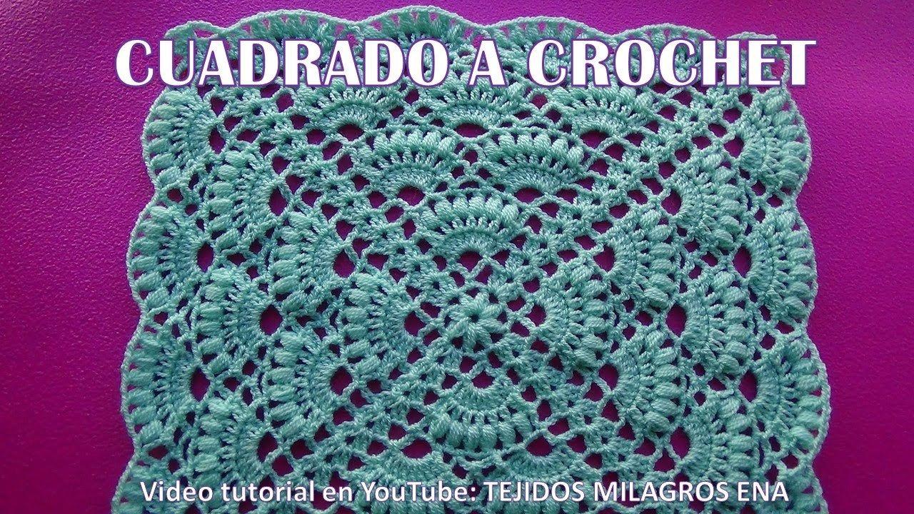 Cuadrado A Crochet Paso A Paso En Punto Abanicos Para Colchas Y Cojines Cuadros A Crochet Croche Paso A Paso Cuadrados De Ganchillo