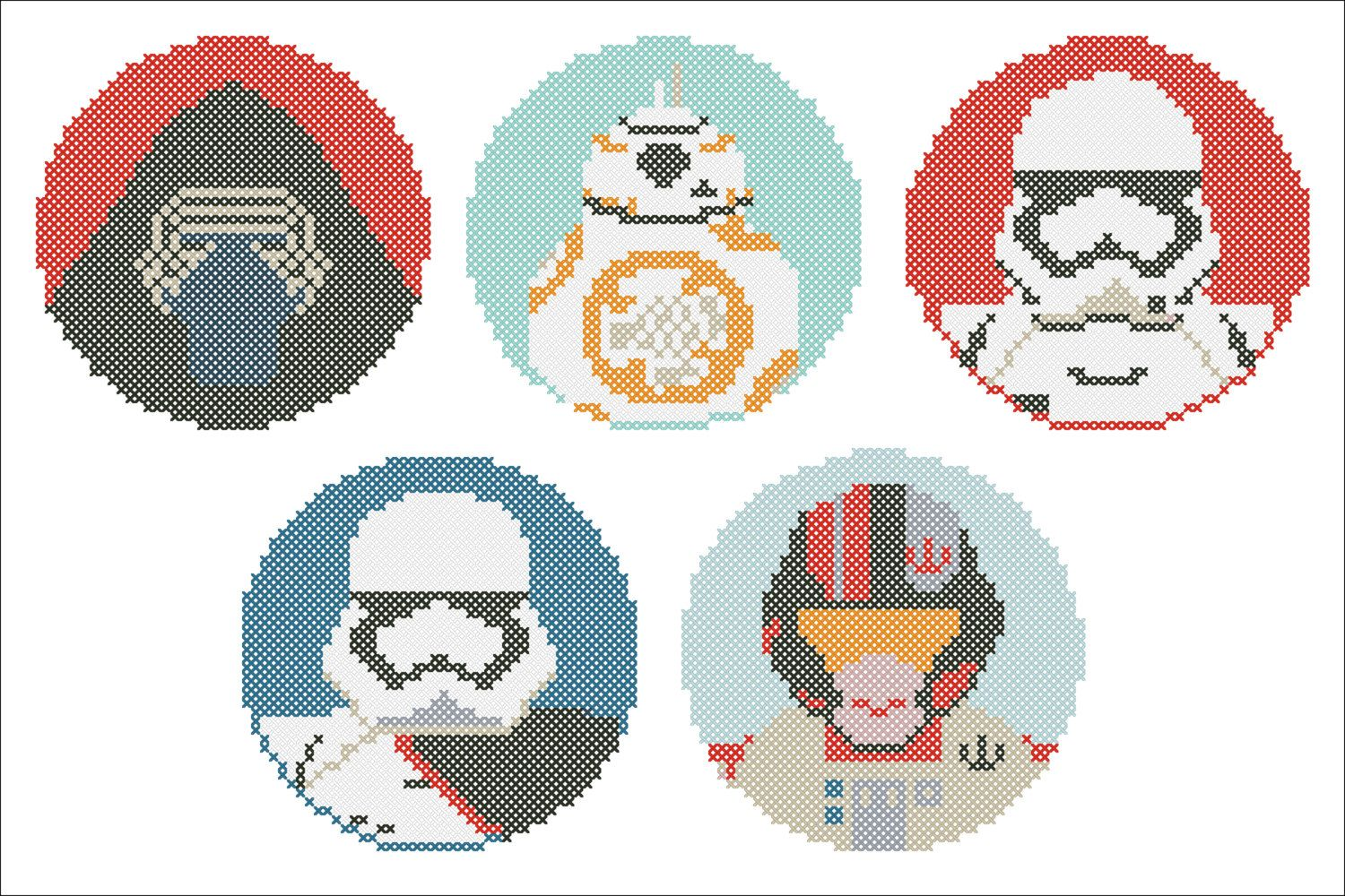 BOGO FREE! Star Wars Heroes Force Awakens characters Cross Stitch ...