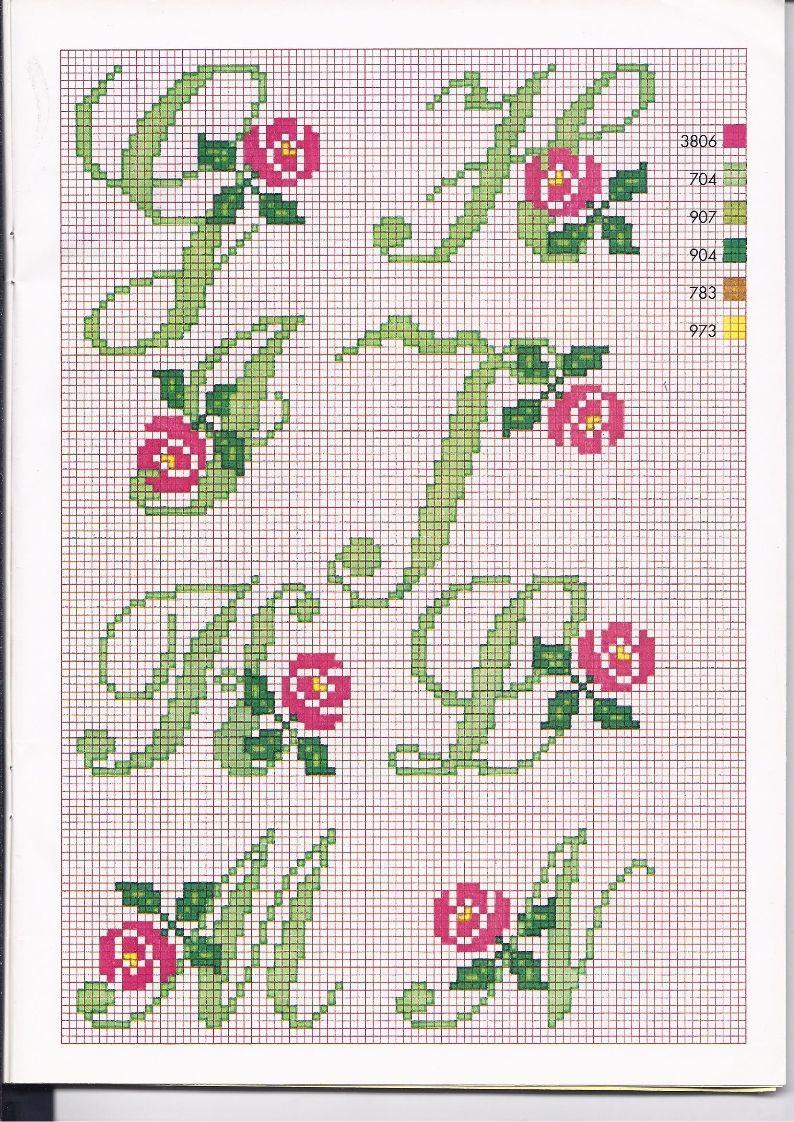 Alfabeto punto croce con le rose 2 alfabeto con fiori for Alfabeto punto croce grande