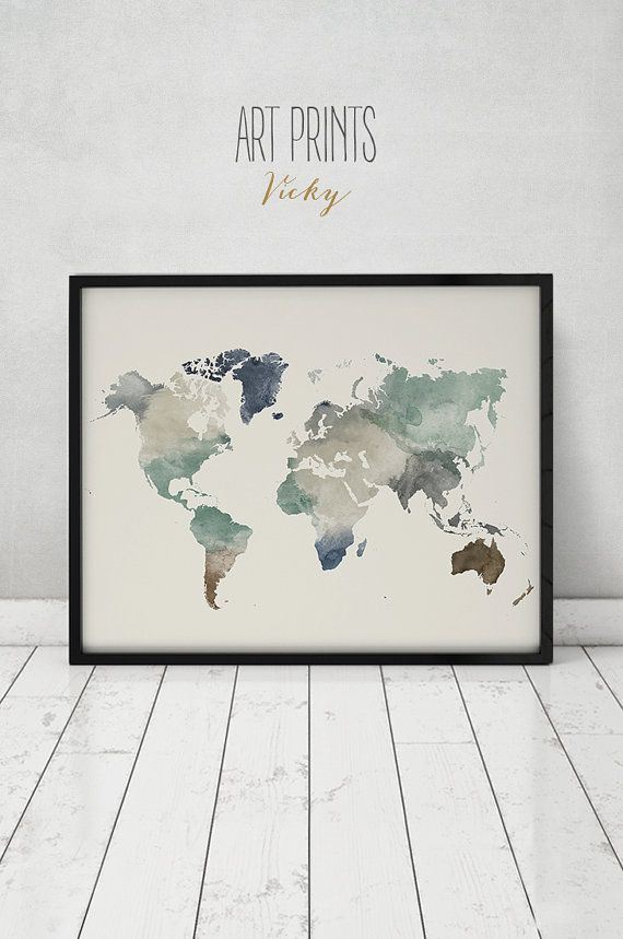 World map print watercolor travel map large world map world map world map print watercolor travel map large world map world map watercolor gumiabroncs Image collections