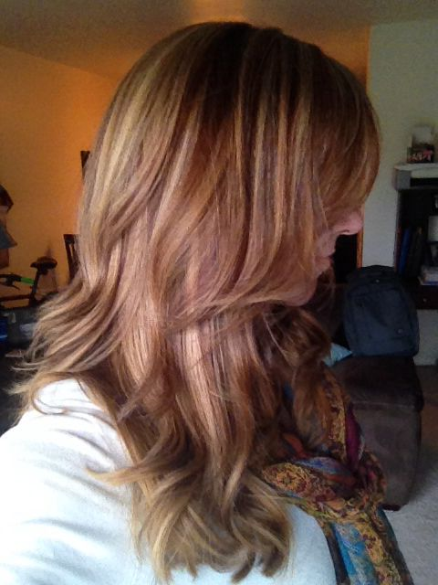 Fall hair color. Blonde highlights, copper lowlights ...