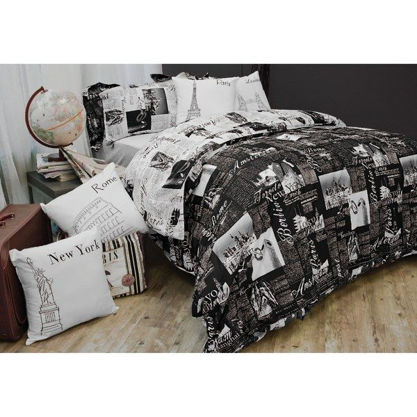 Passport Reversible Duvet Cover Set 100 Cotton Bed Bath